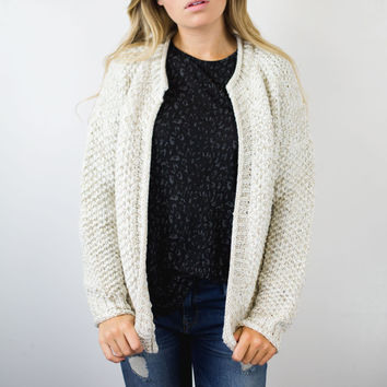 Gold Metallic Knit Cardigan