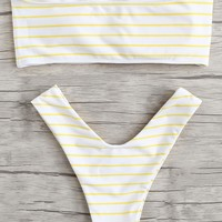 Striped High Leg Bikini SetFor Women-romwe