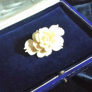 Beautifully Vintage Bovine Carved Triple Layer Rose Petal Carved Rose Brooch Pin Clip Badge All Occasion, Classic Collar, Lace Lapel Brooch