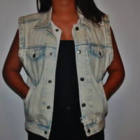 Acid wash jean vest Medium
