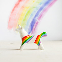 Rainbow Unicorn Totem, white unicorn tiny totem figurine, multicolor home decor, magical fantastic animals, rainbow gift idea