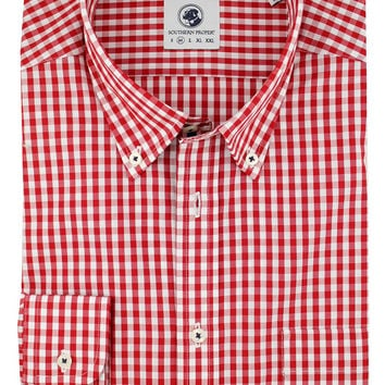 Goal Line Shirt in Red Gingham by Southern Proper