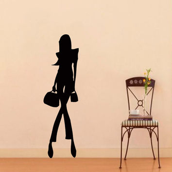 Wall Vinyl Sticker Decal Fashion Girl Model Beauty Saloon Art Design Room Nice Picture Decor Hall Wall Chu1004