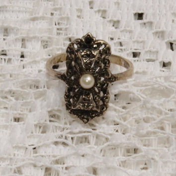 Vintage Art Deco Art Nouveau Ring Faux Pearl and Marcasite Set in Sterling Silver