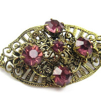 Amethyst Glass Filigree Brooch, Art Deco 1930s Vintage Jewelry, Gift for Her VALENTINE SALE