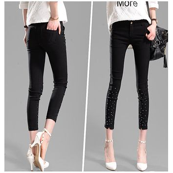 New Fashion Women Spring Pants Harem Capris Skinny Pencil Pants Slim Fit Trousers Casual Pantalon Femme Embroidered Flares