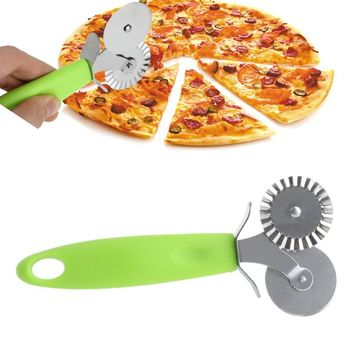 New Double Roller Pizza Knife Cutter Pastry Pasta Dough Crimper Wheel Rolling Slicer Pastry Cutting Tool
