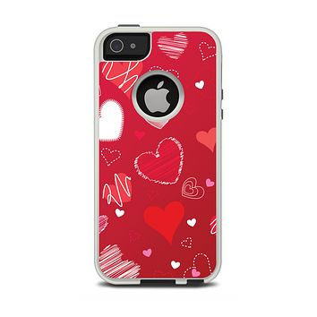 The Red Sketched Love Hearts Illustrastion Apple iPhone 5-5s Otterbox Commuter Case Skin Set