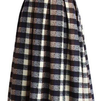 Grace in Checks Pleated Midi Skirt