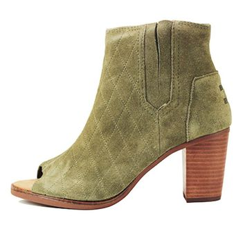 Toms for Women: Majorca Peep Toe Bootie Tarmac Olive Suede Quilted