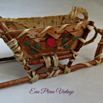 Primitive Rustic Miniature Handmade Wood Birch Bark Sleigh Christmas Ornament