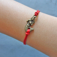 Jewelry bangle mermaid wrist bracelet hemp ropes bracelet women bracelet girls bracelet made of red ropes and bronze mermaid  cuff  SH-1112