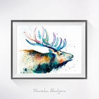 Red deer watercolor painting print, Deer art, STAG watercolor, STAGS art, watercolor, animal illustration, Deer illustration, watercolor