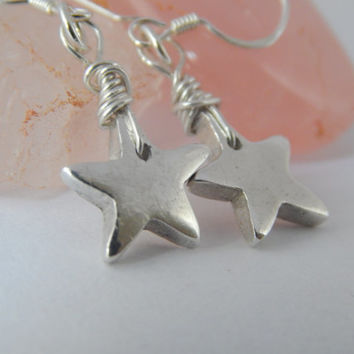PMC Fine Silver Star Earrings - Silver Stars - Precious Metal Clay Jewelry - PMC Fine Silver Clay Jewelry - Wire Wrapped Jewelry Handmade