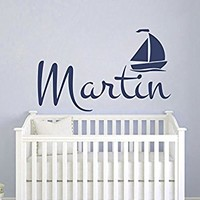 Boys Name Decal Personalized Decal Nautical Sailboat Vinyl Wall Decal Kids Nursery Wall Decal Bedroom Wall Decor Name Wall Decal S119