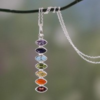 Sterling Silver Chakra Balance Multi-gemstone Necklace