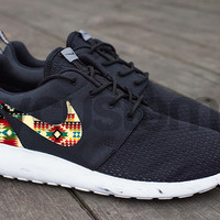 Free Shipping -- Nike Roshe Run Black Marble Cream Blanket Tribal Print Custom Men & Women
