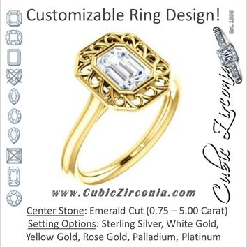Cubic Zirconia Engagement Ring- The Addie (Customizable Cathedral-Bezel Style Emerald Cut Solitaire with Flowery Filigree)