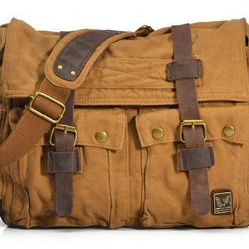 Military Travel Canvas Shoulder Bag For Men With Genuine Leather Straps