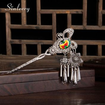 SINLEERY Retro China Hand Embroidery Butterfly Hairpin Hair Stick Women Headwear Jewelry Accessories Special Gift FS002 SSD