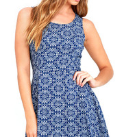 Good Love Blue and White Print Skater Dress