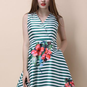 Passionate Hibiscus Wrapped Dress in Green Stripes