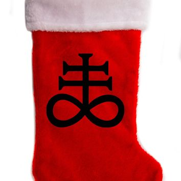 "Leviathan Cross Crux Satanus Christmas Holiday Stocking 17"" Red/White Plush Hanging Sock Santa Stuffer Merry Gothmas"