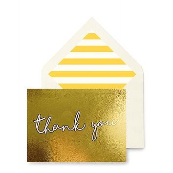 Thank You Script Greeting Card, Single Folded Card or Boxed Set of 8