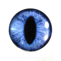 30mm Blue Cat or Dragon Glass Eye Cabochon for Pendant Jewelry Making or Taxidermy Fantasy Art Doll Pupil Eyeball Flatback Circle