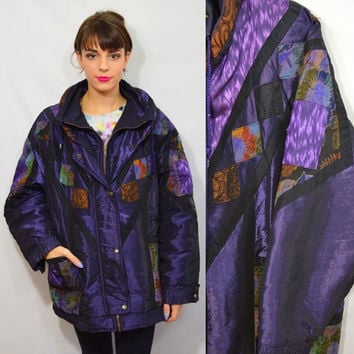 90s Puffy Coat Patch Shiny Large XL Purple Soft Grunge Hipster Tapestry Floral Puffy Coat Jacket Winter Thick Heavy 1990s Violet Black Brass