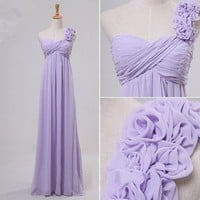 Enhancing Lilac A-line One-shoulder Floor Length Prom Dress
