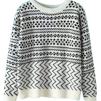 White Chevron Pattern Long Sleeve Knitted Sweater