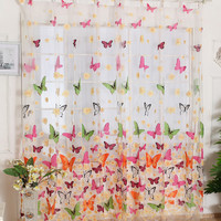 Butterfly Window Curtains for Living Room Bedroom Embroidered Voile Curtains Butterfly Kitchen Curtains Tulle window Treatments