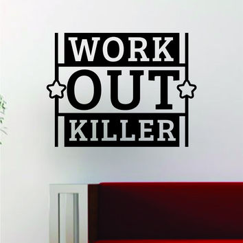 Work Out K Fitness Gym Design Quote Decal Sticker Wall Vinyl Art Words Decor Weight Dumbbell Inspirational