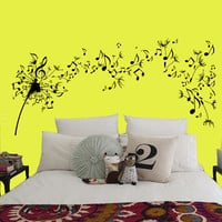 Wall Decals Dandelion Flower Music Musical Notes Home Vinyl Decal Sticker Kids Nursery Baby Room Decor kk135