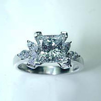 2.70ct D-SI1 Princess Cut Diamond Engagement Ring GIA certified JEWELFORME BLUE