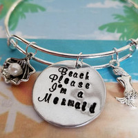 Beach Please I'm a Mermaid charm bracelet, Vacation, Cruise, Hand Stamped, Bangle Bracelet, Nautical, Customized