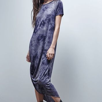 Gypsy Warrior Tie-Dye Asymmetrical Maxi Dress - Womens Dress - Black