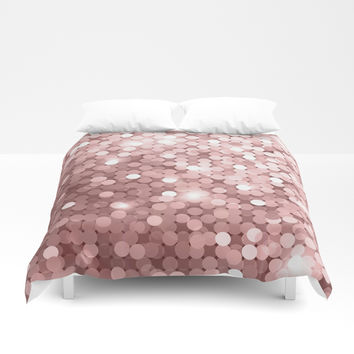 Rose gold glitter Duvet Cover by printapix