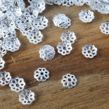 Vintage Flower Bead Caps 50pcs Silver Jewellery Findings Jewellery Making diyforstyle