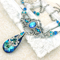 Bermuda Blue Necklace - Victorian Peacock Wedding Necklace - Swarovski Crystal Jewelry Antique Silver Filigree Bermuda Blue Wedding Jewelry