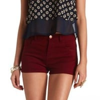 Refuge High Rise Denim Shortie by Charlotte Russe - Wine