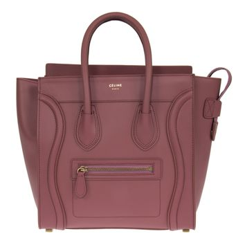Celine Micro Luggage Leather Bag | Bordeaux with Gold Hardware