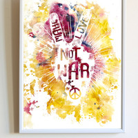 Peace Sign Wall Art Watercolor Make Love Not War Quote Inspirational Hippie Typography Poster Bedroom Wall Art Decor