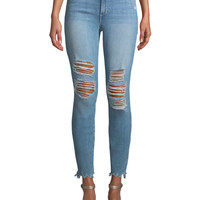 Joe's Jeans Charlie Mid-Rise Distressed Skinny-Leg Ankle Jeans | Neiman Marcus