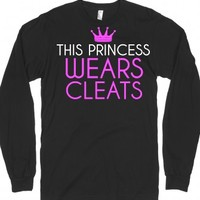 This princess wears cleats soccer softball long sleeve black tee t ...