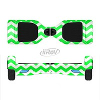 The Green & White Chevron Pattern Full-Body Skin Set for the Smart Drifting SuperCharged iiRov HoverBoard