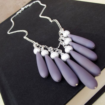 Opaque Lavender Bib Necklace: Lilac Purple Sea Glass Long Teardrop Silver Sparkle Beach Jewelry, Beaded Fringe Pastel Wedding Necklace