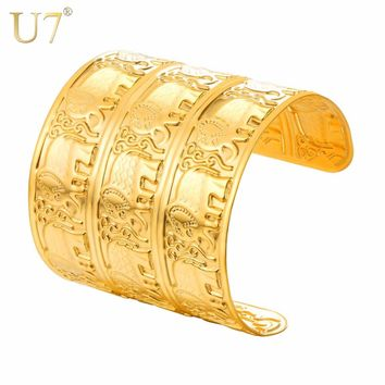 U7 Bracelet Stainless Steel Vintage Gold Color Engraved Elephant Wide Cuff Bangle Adjustable Animal Gift Jewelry Bracelets H1043