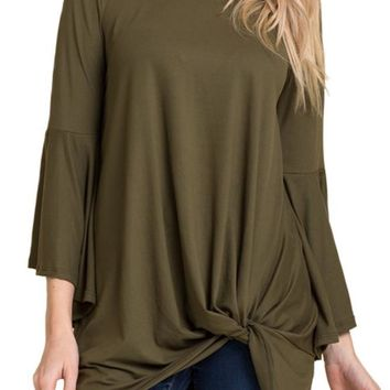 Bell Sleeve Tunic Top with Front Knot